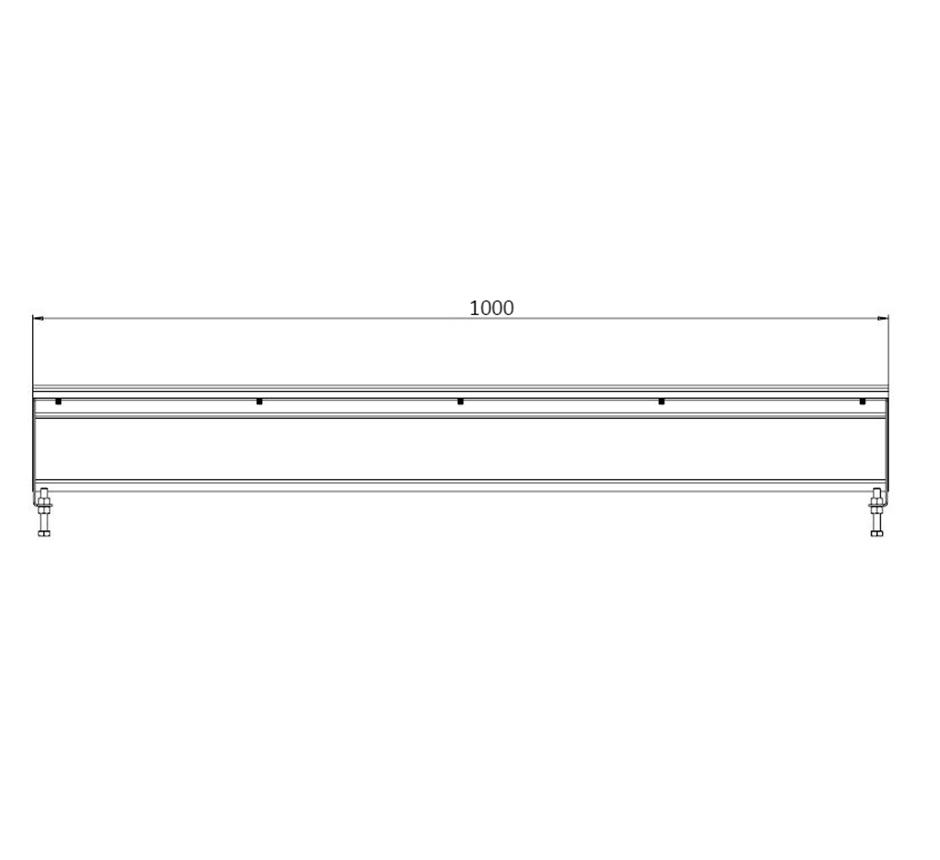 Line drawing of Kents vinyl box drain channel