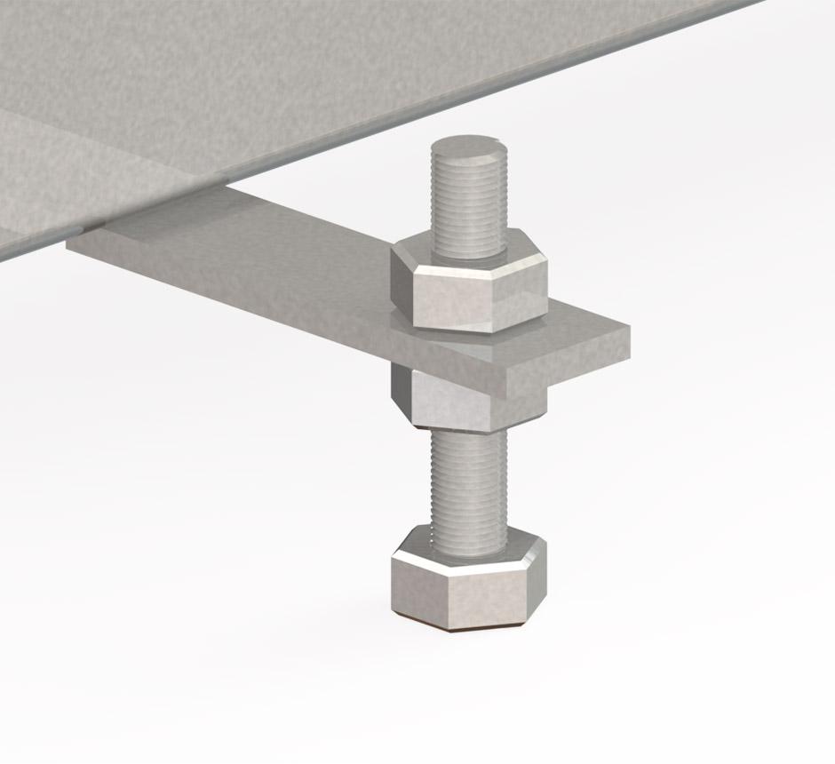 CAD drawing of built in screws in Kents Vinyl box drain channel