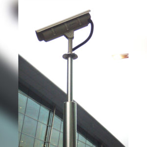 High quality security camera mounted on a steel pole